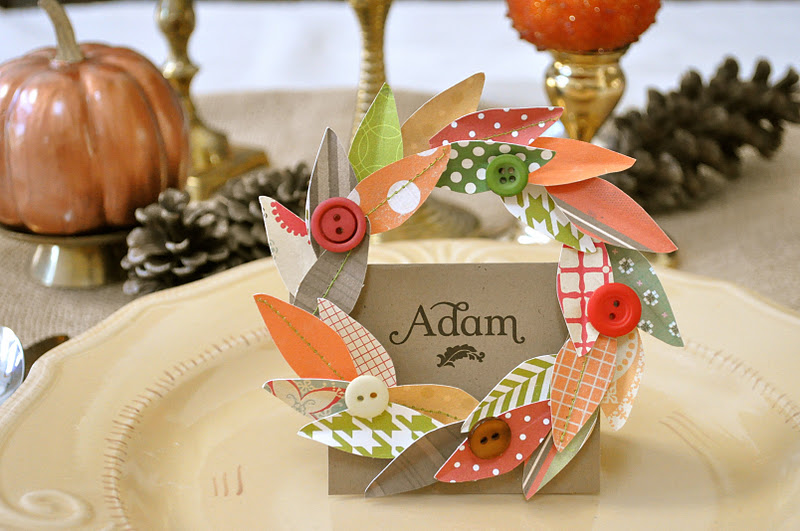 Fall Wreath Thanksgiving Placecard And Napkin Ring