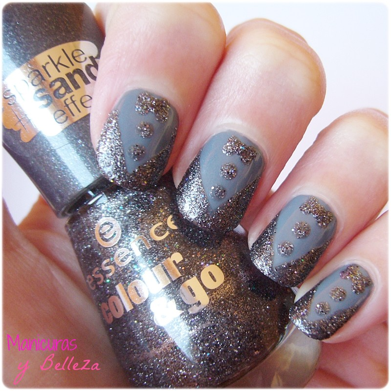 nail art esmoquin de arena sand smoking nails notd black and grey uñas negro y gris efecto arena reto tipos de esmaltes Essence Catrice