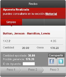 Apuestas Deportivas rosberg Fórmula 1– Gran Premio de Mónaco Hamilton Button Cirsa