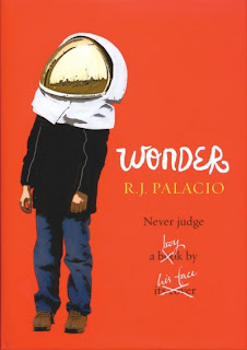 Wonder cover- a bright red background with a boy in a space helmet which covers his face.
