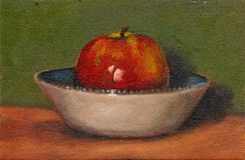 Oil painting of a large Pink Lady apple in a white and blue ceramic bowl.