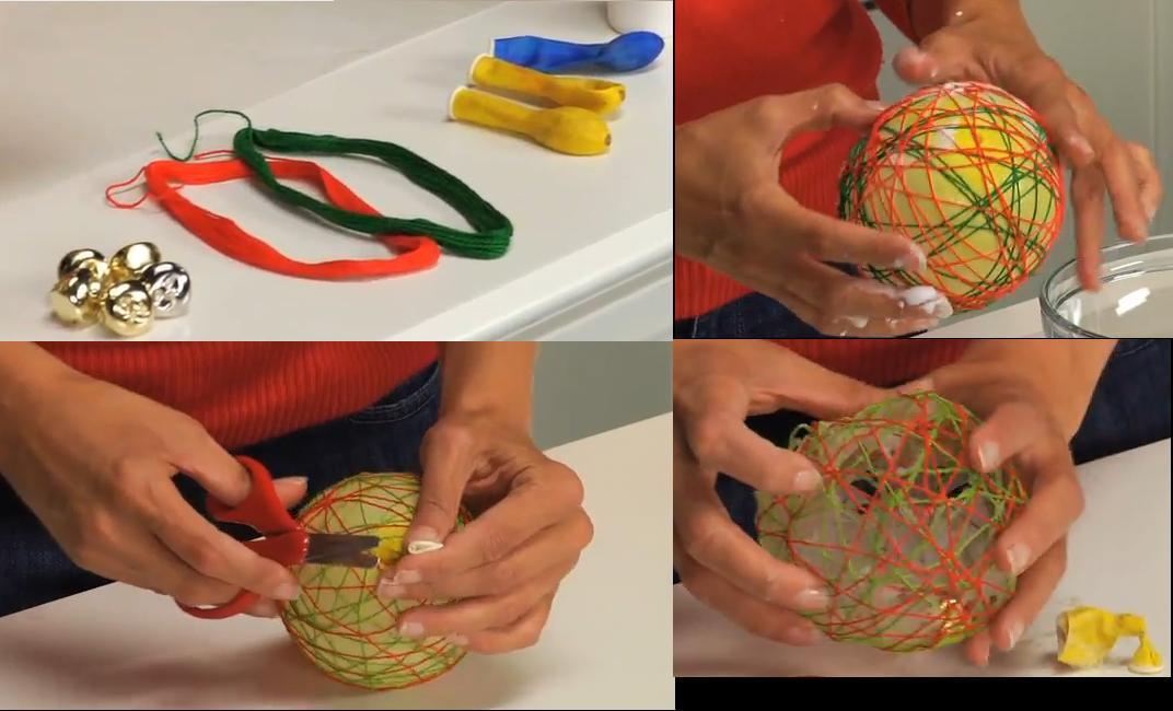 Manualidades escuela en la nube bolas navidad con lanas y - Manualidades de bolas de navidad ...