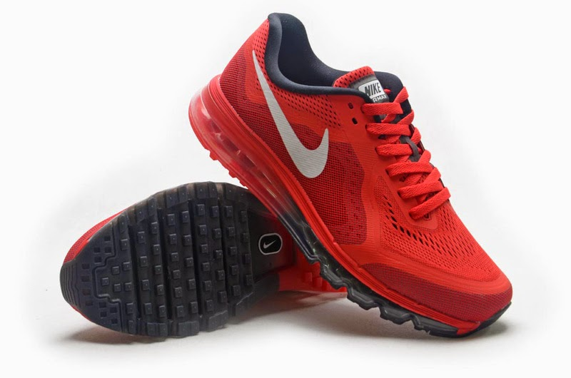 Nike Air Max 2014 Running Shoes Mesh Navy Blue Red White Mens