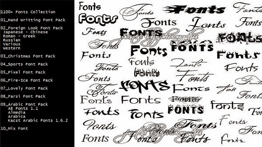 1100+ Fonts Collection By Bipdworkshop