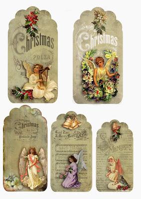 Etiquetas Retro de Angeles para Navidad, para Imprimir Gratis.