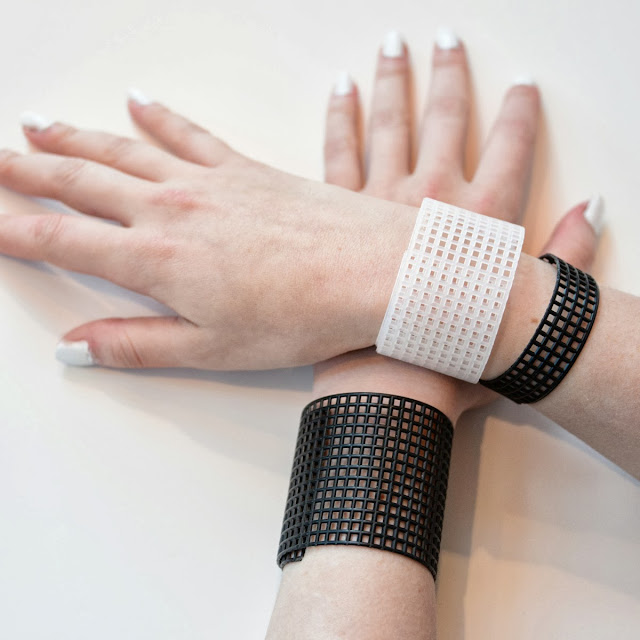 grid plastic canvas bracelet black white
