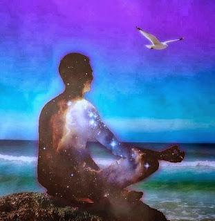 A man meditating, meditate, universe quote, Carl Sagan,