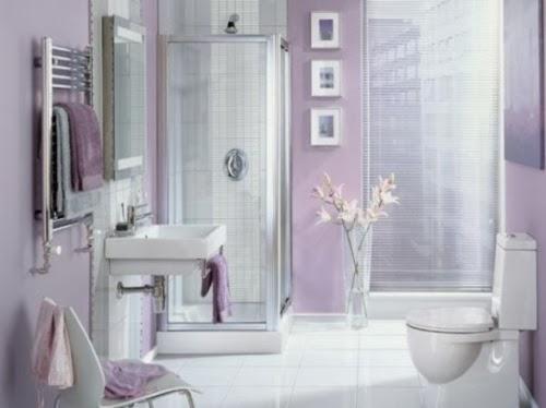 Decoración Baño Lila:Diseño de baño moderno en color lila, una decoración tenue y muy