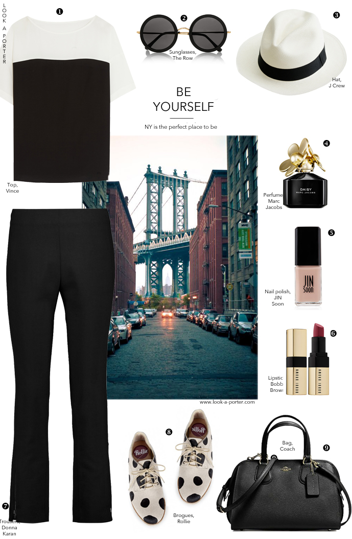An English man in New York... An outfit idea inspired by New York Fashion Week, Stuart Vevers, Sting and monochromatic trend. Via look-a-porter.com / style & fashion blog / casual, monochromatic, black and white, how to wear