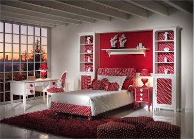 desain kamar tidur remaja perempuan warna merah desain