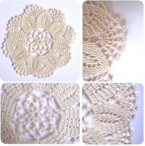detalles blonda crochet flor de 8 pétalos