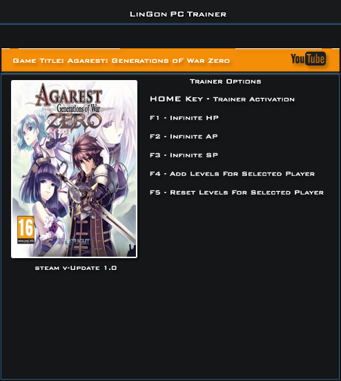 Agarest Generations Of War Zero v1.0 Steam Trainer +5 [LinGon]