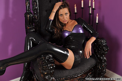 Brunette Marta in Shiny Black and Purple Latex Dress