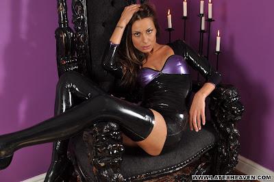 Brunette Marta in Shiny Black and Purple Latex Dress