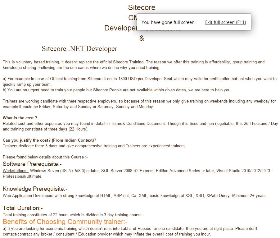 India Sitecore Sitecore Training