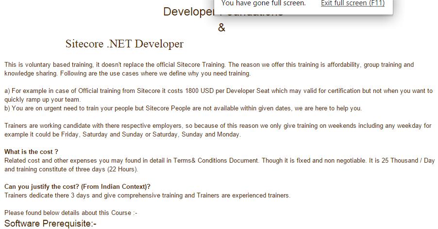 India Sitecore: Sitecore Training