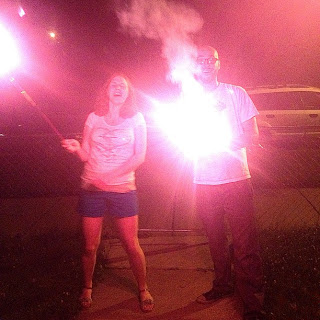 adults with sparklers