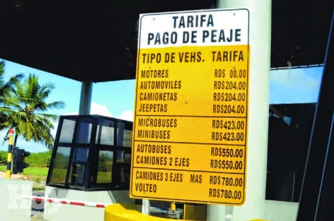 Nagua Real: 01-oct-2014 of Tarifas de estaciones de peaje