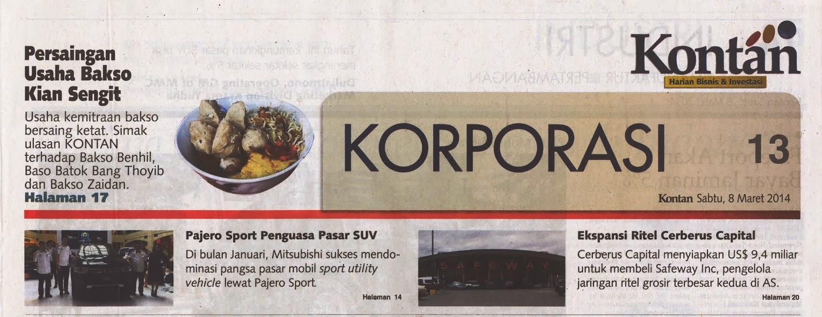 Ulasan tentang Bakso di Harian Kontan 8 Maret 2014