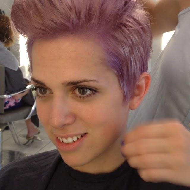 Lavender hair dye pompadour hairstyle