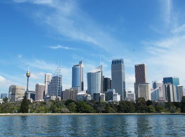 View of Sydney city skyline from Botanic Gardens