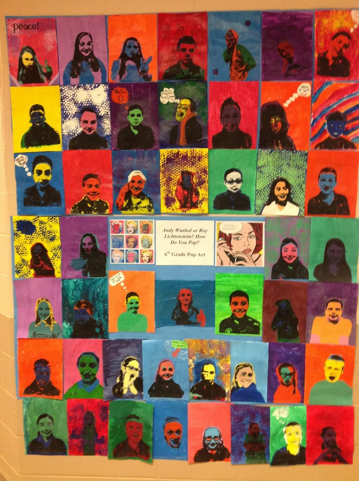 6th Grade Pop Art Portraits Inspired by Warhol and Lichtenstein
