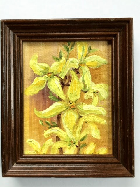 Kath Schifano, oil paintings of flowers, yellow picture, forsythia close up