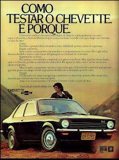 propaganda Chevrolet Chevette - 1974.  brazilian advertising cars in the 70. os anos 70. história da década de 70; Brazil in the 70s; propaganda carros anos 70; Oswaldo Hernandez;