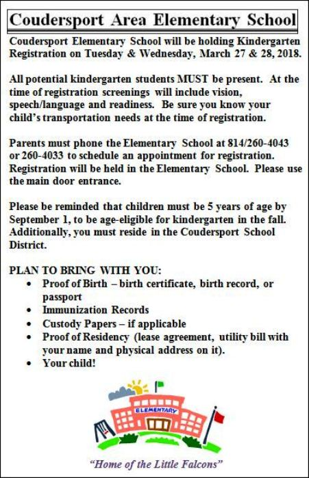 Coudersport Elementary Kindergarten Registration
