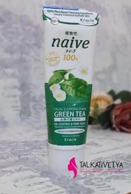 Kracie Naive Facial Cleansing Foam dengan wangi Green Tea yang bikin rileks