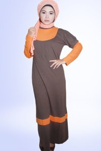 Idmonia Gamis 07 - Coklat Tua (Toko Jilbab dan Busana Muslimah Terbaru)