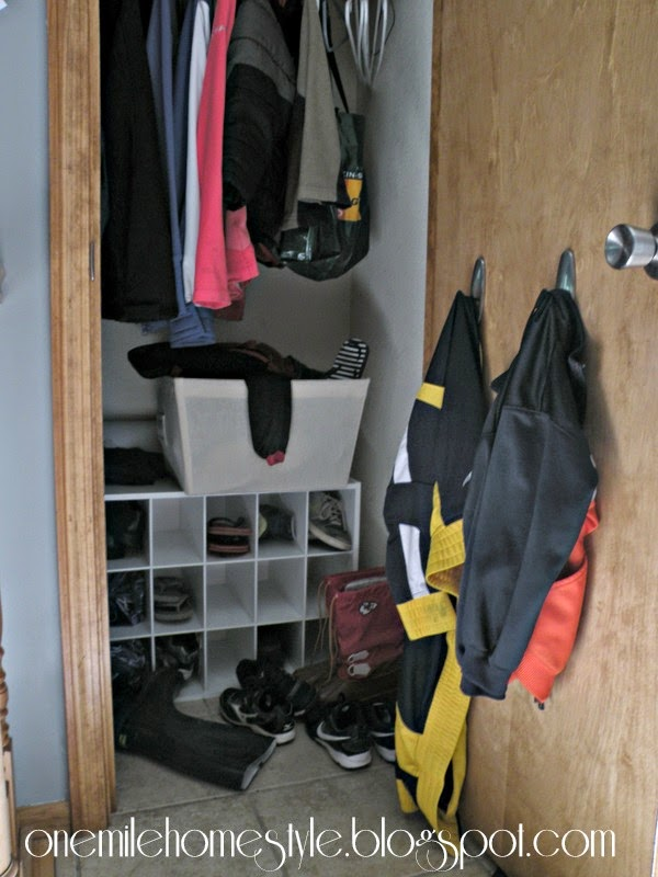 Entry Closet Shoe Organization - Before