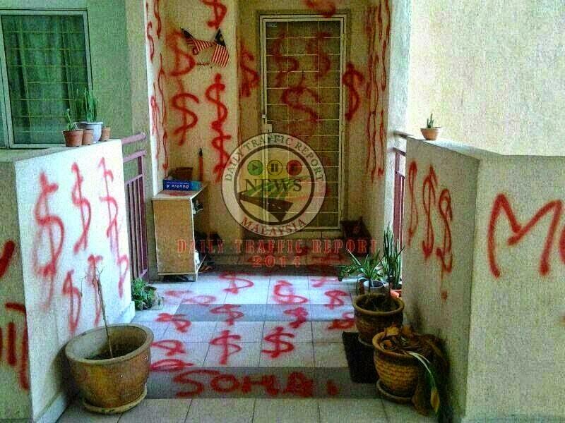Rumah Penjawat Awam Putrajaya Di Sembur Cat Merah