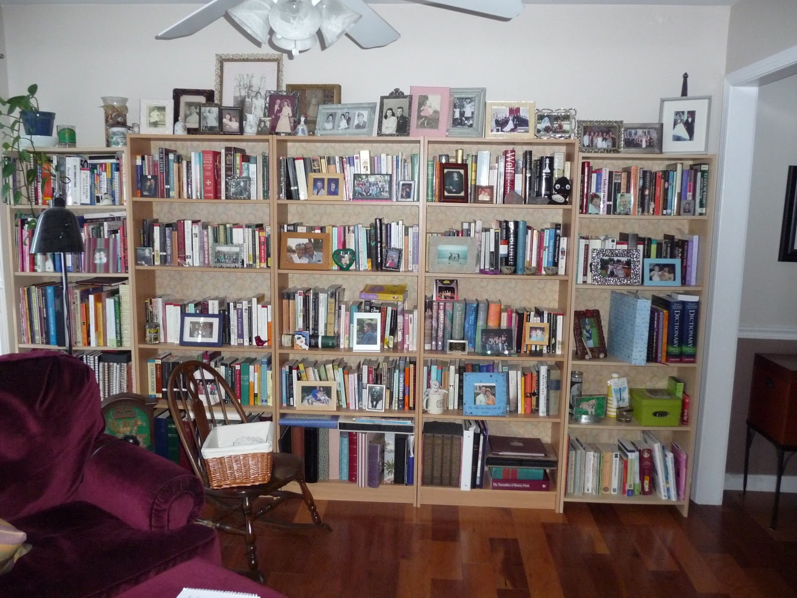 Haphazard, Mismatched Bookshelves. The Three In The Middle Are From The  Container Store, The Two On Each End Are From Office Depot.