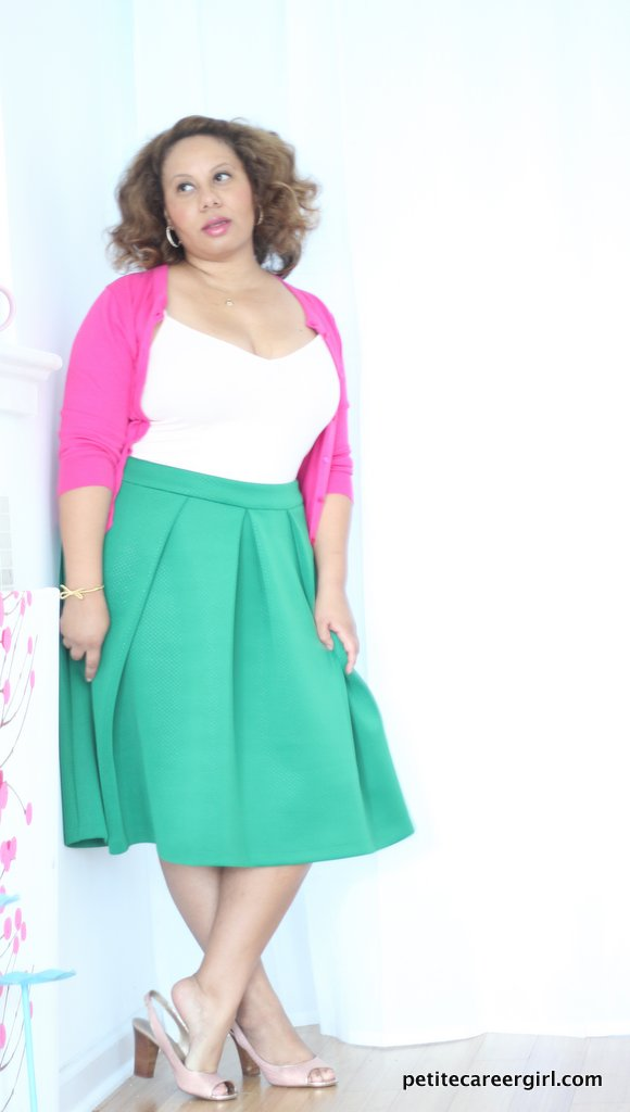 Curvy, Petite Outfit Ideas | Professional Casual Chic Fashion and Style Inspiration | Plus Size Fashion | Summer Fashion | OOTD | Pink & Green Anthropologie Dupe - (Business Casual Attire)