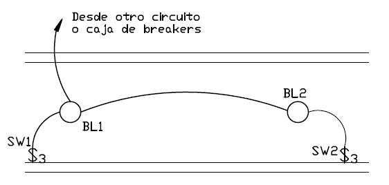 Plano electrico con interruptor de tres vías
