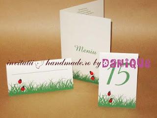 meniu, numar de masa si place card pentru nunta