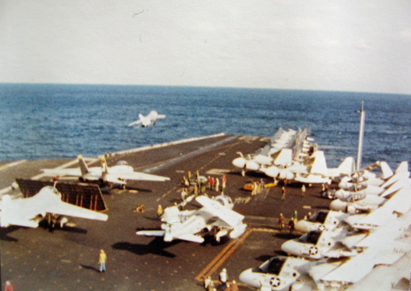 Tommy Mondello watching flight ops USS Nimitz January 1983 Mediterranean Sea