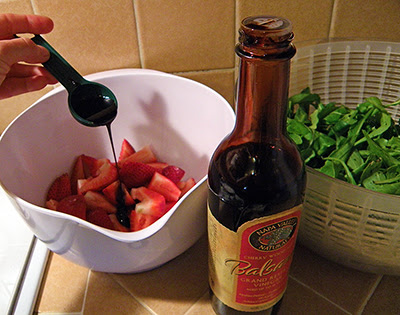 1 tablespoon thick balsamic drizzling onto berries