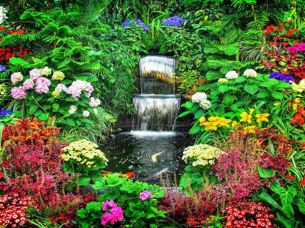 Flower garden wallpaper free download http refreshrose for Garden waterfalls