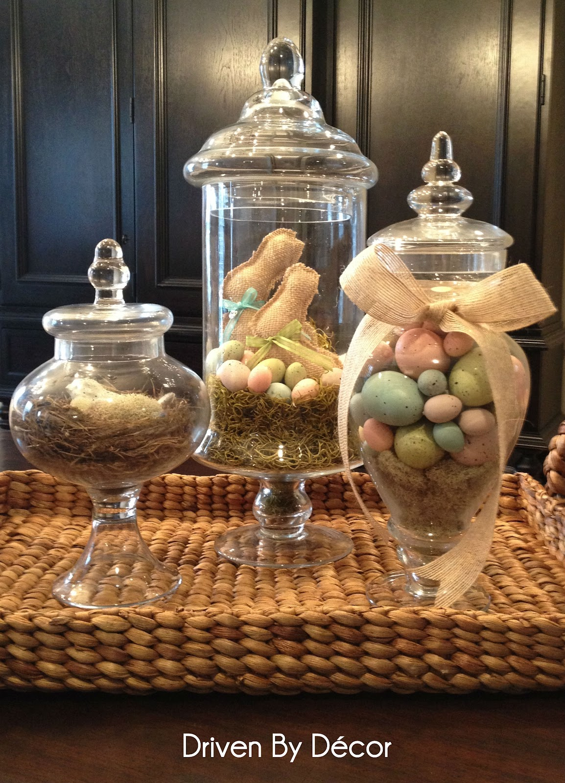 apothecary jars decorated for spring easter