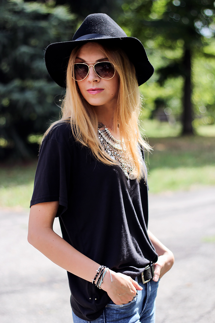 bohemian statement necklace, hat, fashion blog, street style
