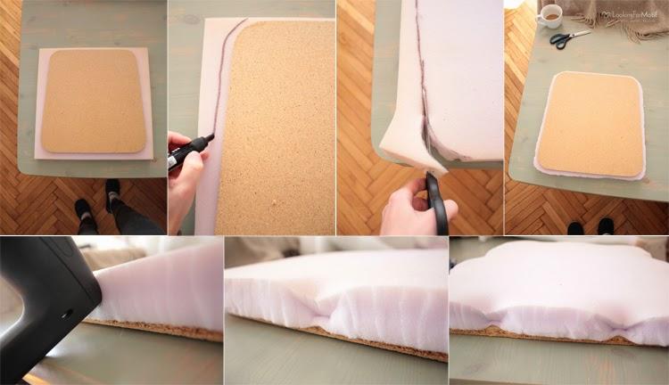DIY, zrób to sam, przemiana krzesła, zmaina tapicerki na krześle, drewniane krzesło z szarym obiciem - tutorial, nakładamy gąbkę tapicerską