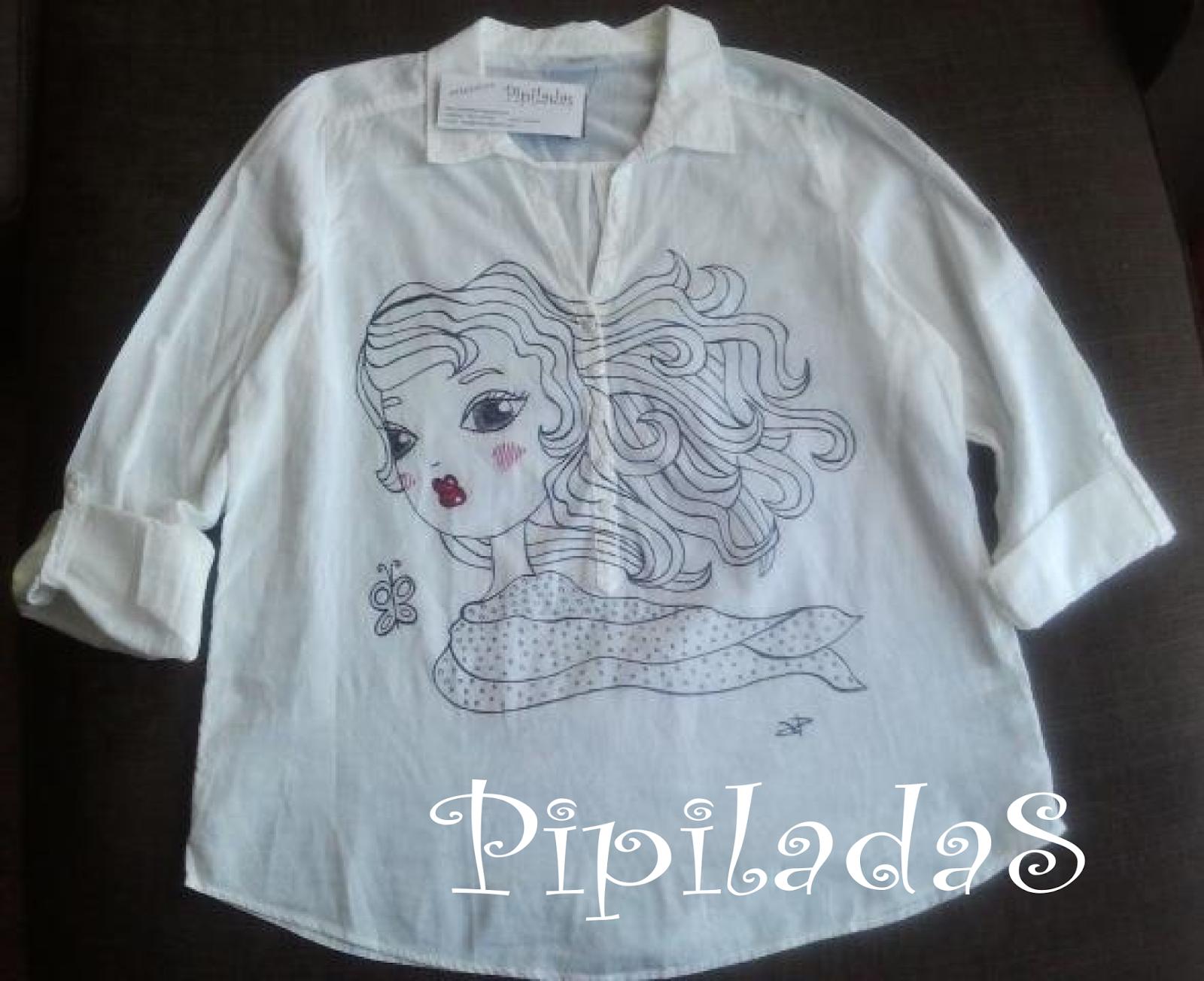 camisa blanca con dibujo original