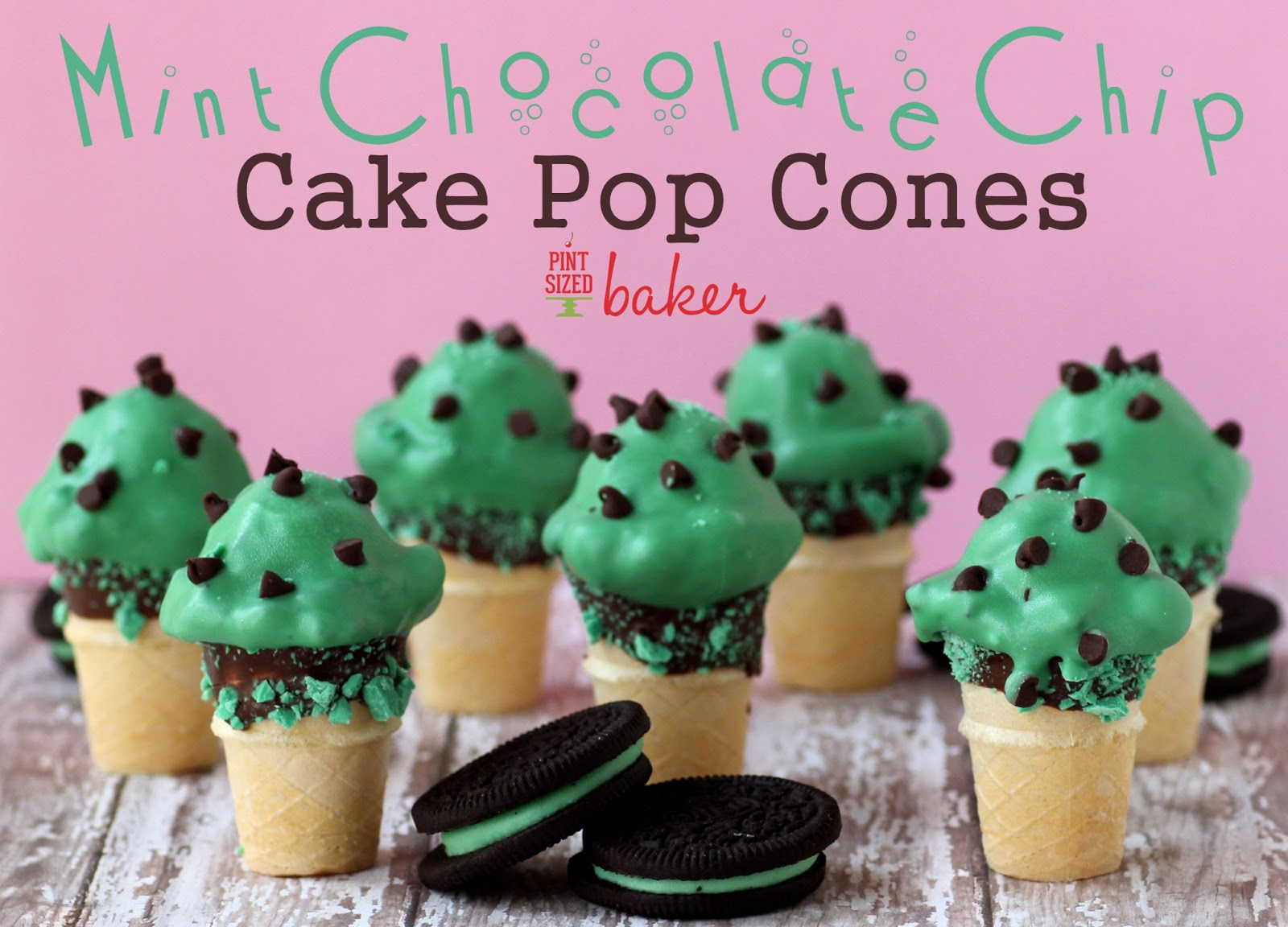 Mint Chocolate Chip Cake Pop Cones - Pint Sized Baker