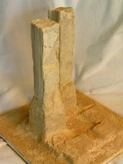 World Trade Center, 2002, stone and stone filings on base of wood and styrofoam