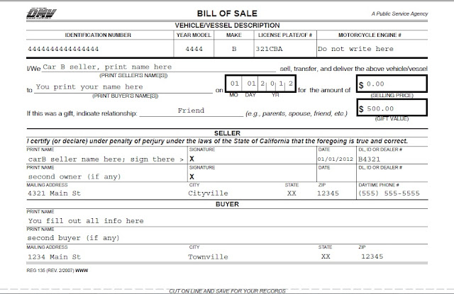 how to fill out bill of sale