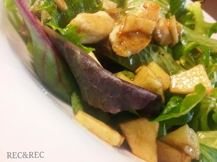 ensalada con brotes pechuga y manzana