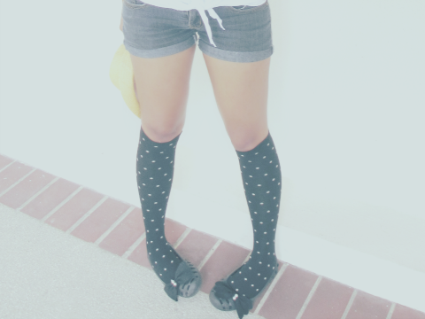 polka dots, knee high socks, bow shoes