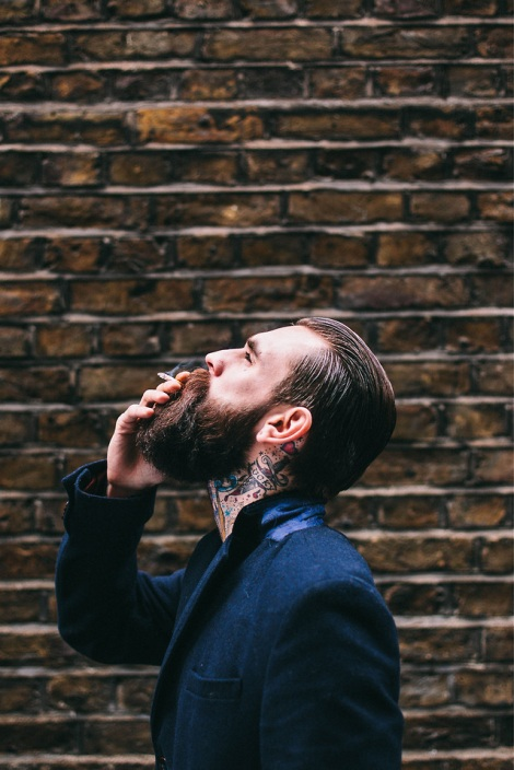 Bearded Model Photographed Smoking